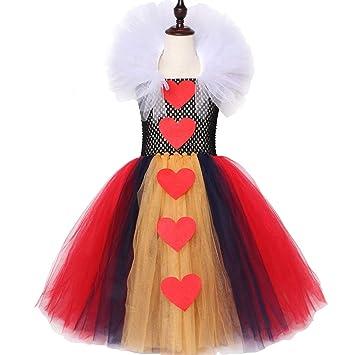 QWER Vestido de Carnaval Reina de Corazones Vestido de la Muchacha ...