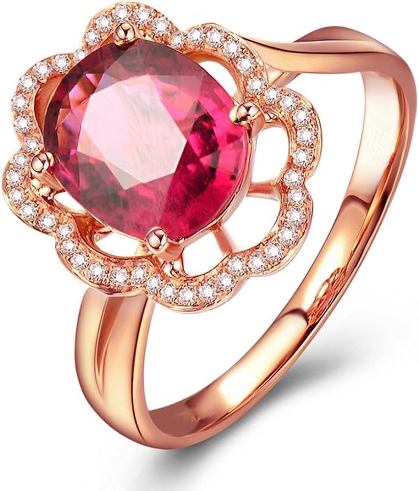 Precioso Top Quality Señoras Rosa Turmalina Piedra preciosa Diamante Compromiso Boda Anillo Conjuntos para Mujer