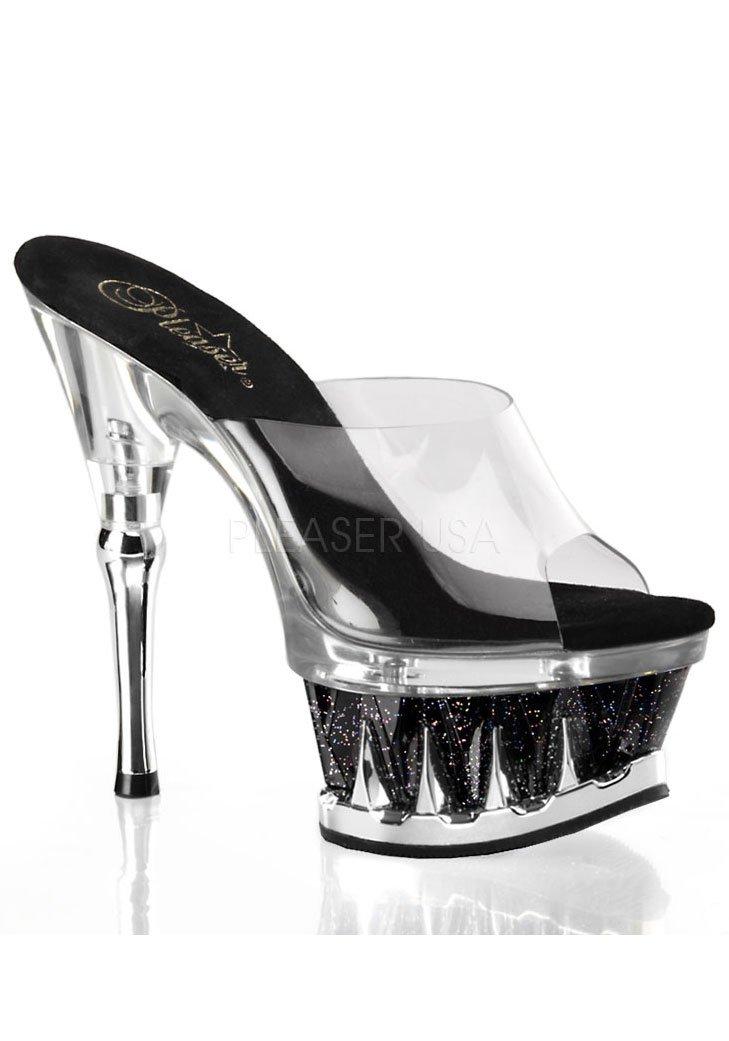Pleaser Women's Spiky-601MG/C/SG Platform Sandal B005MDSAZW 7 B(M) US|Clear / Black Glitter