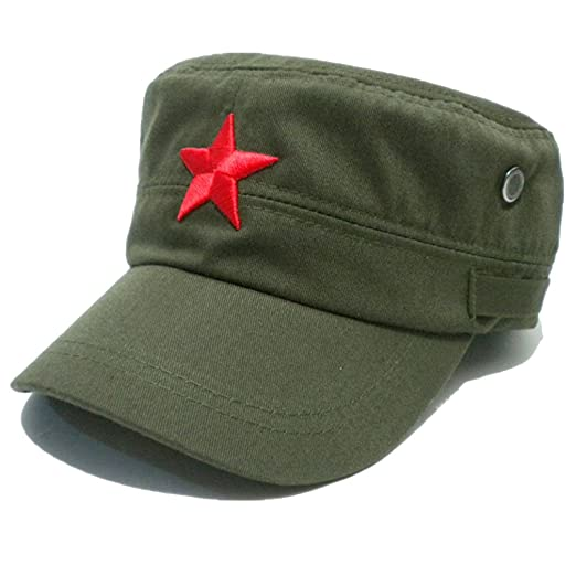 a11bb765863ea Amazon.com  COOLSOME Vintage Fatigue Red Star Mao Army Military Hat  (Military Green)  Clothing