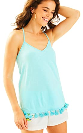 a553014f33a7d4 Image Unavailable. Image not available for. Color: Lilly Pulitzer - NYA  Racer Back Tank Top - Serene Blue