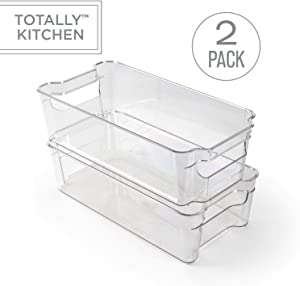 Totally Kitchen Clear Plastic Stackable Storage Bins | Refrigerator, Freezer, Pantry & Clothes Organization Container with Carrying Handles | Medium, 2 Pack
