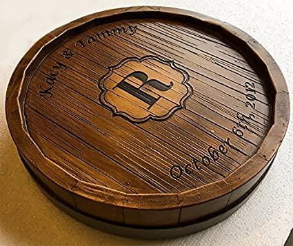 Amazoncom Wine Barrel Monogram And Personalized Lazy Susan