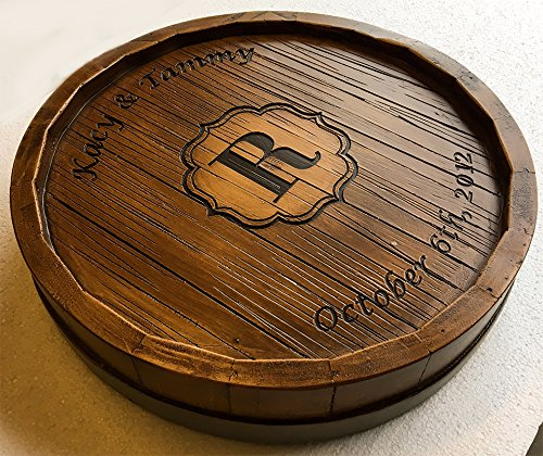 Wine Barrel Monogram and Personalized Lazy Susan by Piazza Pisano