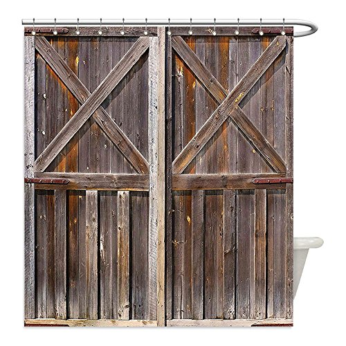 Orange Barrel Costume (Liguo88 Custom Waterproof Bathroom Shower Curtain Polyester Rustic Decor Old Wooden Barn Door of Farmhouse Oak Countryside Village Board Rural Life Photo Print Brown Decorative bathroom)