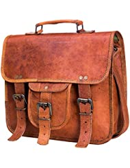 Urban Leather Handmade Leather Messenger Laptop iPad Handbag for Men Women Boy Girl Unisex Beige Brown for School...