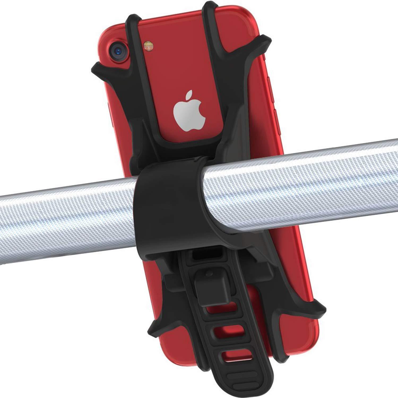 Handyhalterung Fahrrad, Mochatopia [Anti-Shake] Fahrradhalter Motorradhalter Universal Silikon Radsport fü r iPhone X//8/7/6S Plus, Galaxy S9, S8,S7, 4,0 - 6,0 Zoll Smartphones, [Schwarz]