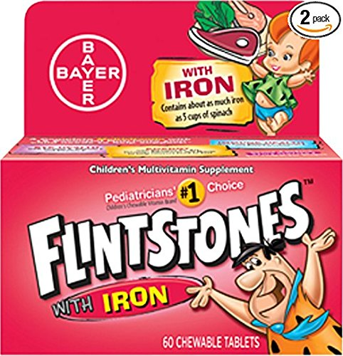 Flintstone Vit W/Iro Size 60s Flintstones Childrens Multivitamin Supplement W/Iron Chewable Tabs 60 Ct (Pack of 2)
