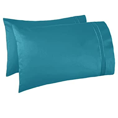 Nestl Bedding Set of 2 Pillowcases – Luxury 100% Soft Double Brushed Microfiber Premier 1800 Pillow case Collection, Hypoallergenic Cool & Breathable Sleep Covers, King Size 20 x 40  Teal
