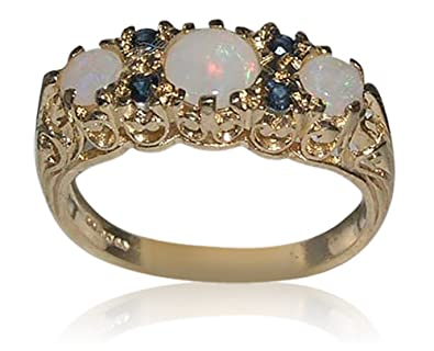 Solid 9ct Yellow Gold Natural Opal & Sapphire Vintage Style Filigree Ring- Sizes J to Z Available u5GdShsWNB