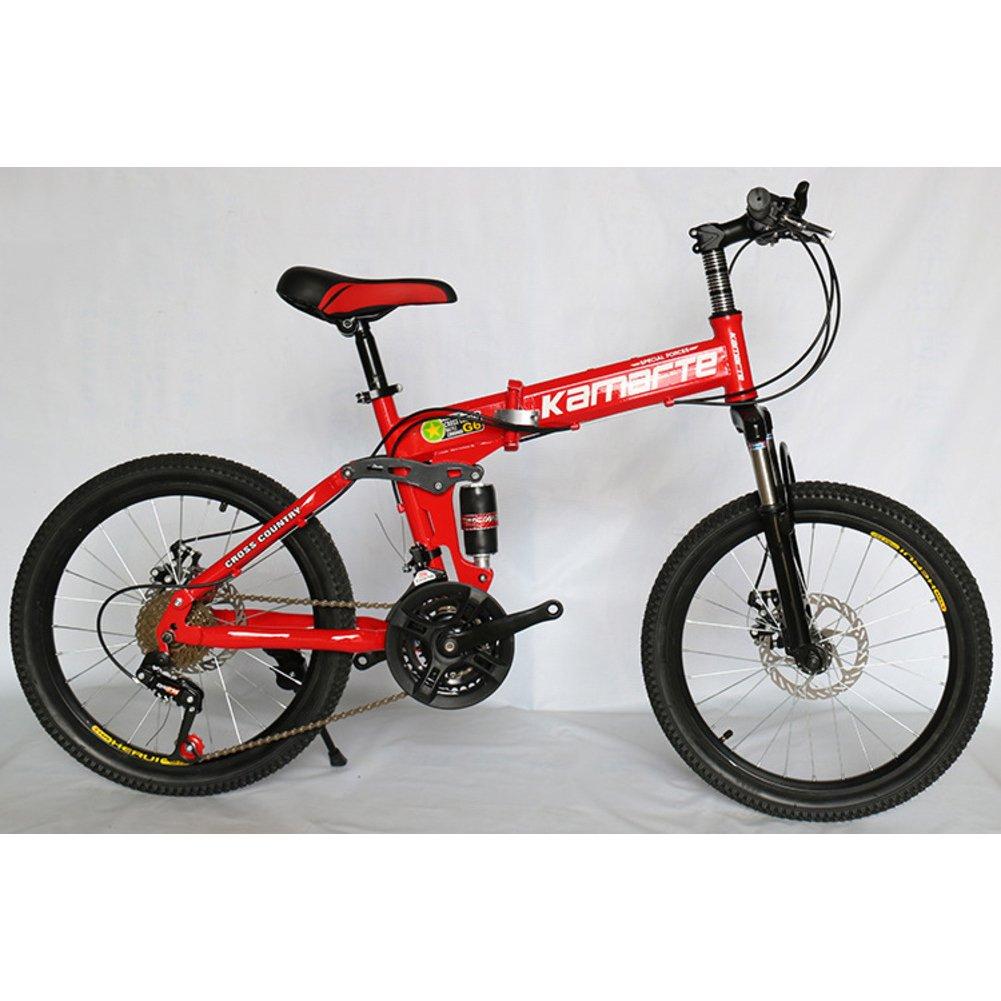 学生折りたたみ自転車, 子供用折りたたみ自転車 ダブルの衝撃吸収材 山 21 速度 男女 大人 折りたたみ自転車 折りたたみ自転車 B07DK8XJ63 20inch|赤 赤 20inch