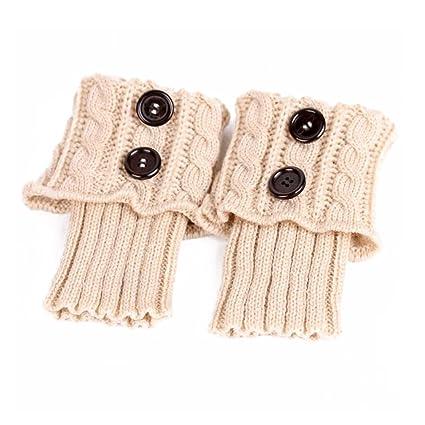 PIXNOR Pata arranque de los puños tejer calcetines calentadores bota cubierta mantenga caliente calcetines (Beige