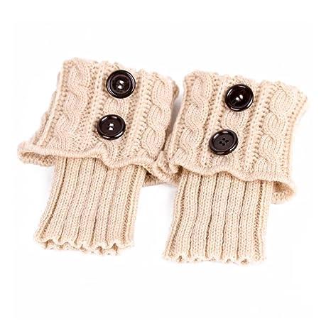 PIXNOR Las mujeres invierno calentador de pierna Botón Ganchillo calcetines de arranque Topper Cuff, marrón