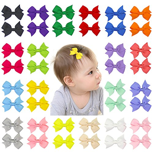 """Beinou Mini 2"""" Hair Bows Alligator Clips Tiny Hair Clips Barrettes for Baby Girls Toddlers Kids - 40pcs in Pair"""