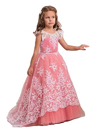 55e2bcba6 Nube Elegant Long Romantic Handmade Flower Girl Dress Formal Vestido de Festa  Longo (2)