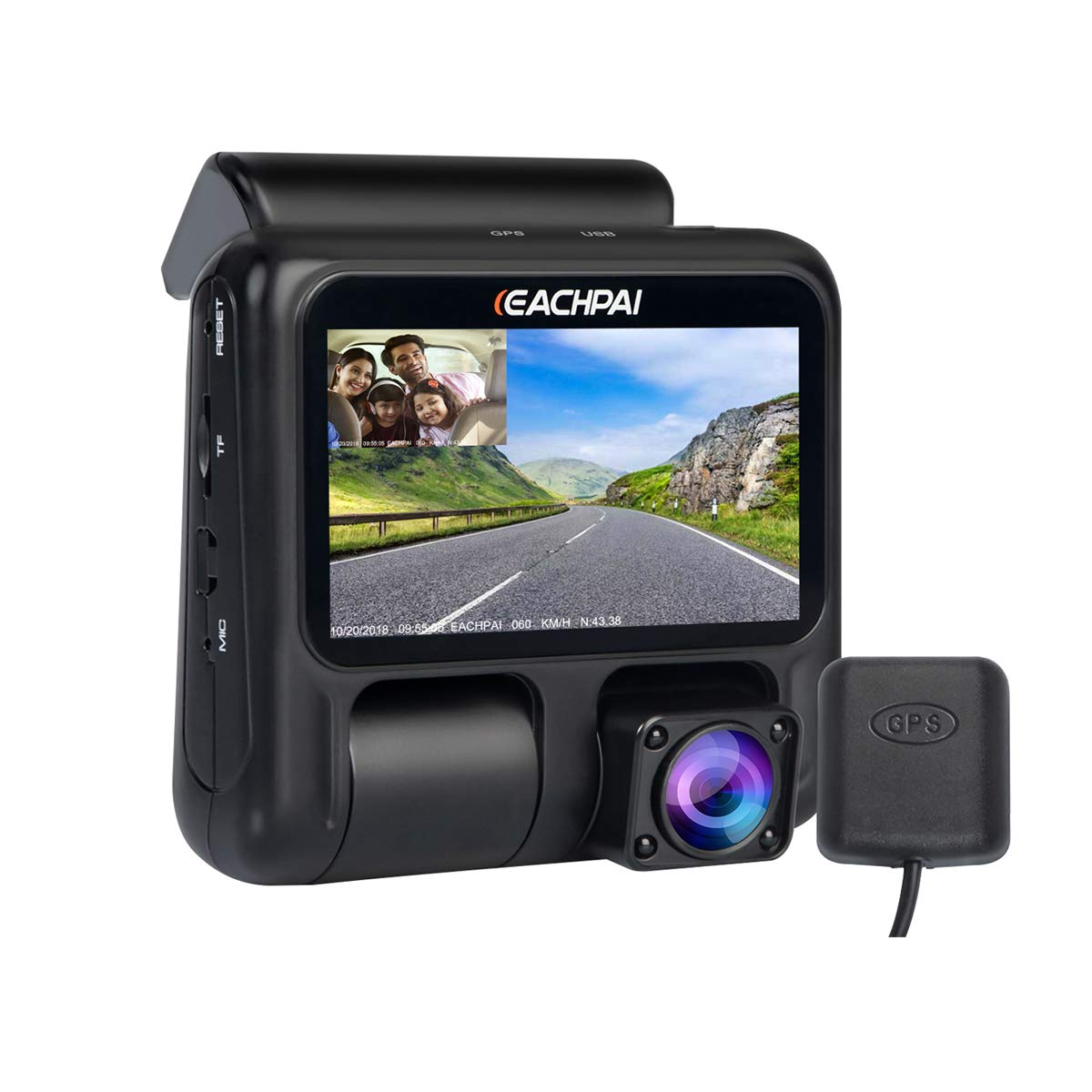 Dual Dash Cam,EACHPAI X100 IR Night Vision Car Dash Camera FHD 1080P Front and Rear Dashcam for Cars//Truck//Taxi//Uber//Lyft Dashboard with Sony Sensor,Wide Angle,Loop Record,GPS Park Monitor,32G Card