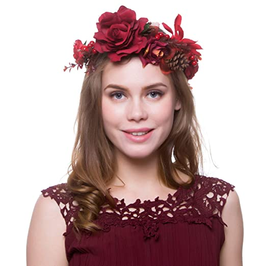 Christmas Girls Flower Crown Red Berry Pine Cone Crown Wedding Bridal Women  Flower Headband at Amazon Women s Clothing store  dec117941d8