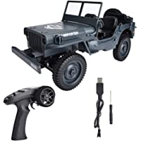 RC Car, 4WD 2.4GHz 1/10 Remote Control Off-road, Waterproof Electric Military Truck Monster Trucks for Boys, Electric Toy Car for Adults & Kids, RTR Hobby RC Trucks(Blue)