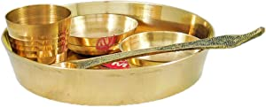 DollsofIndia Brass Plate with Ritual Accessories - Dia - 4 inches