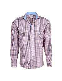 Berlioni Men's French Cuff Yarn Dyed Luxe Cotton Dress Shirt Modern Fit
