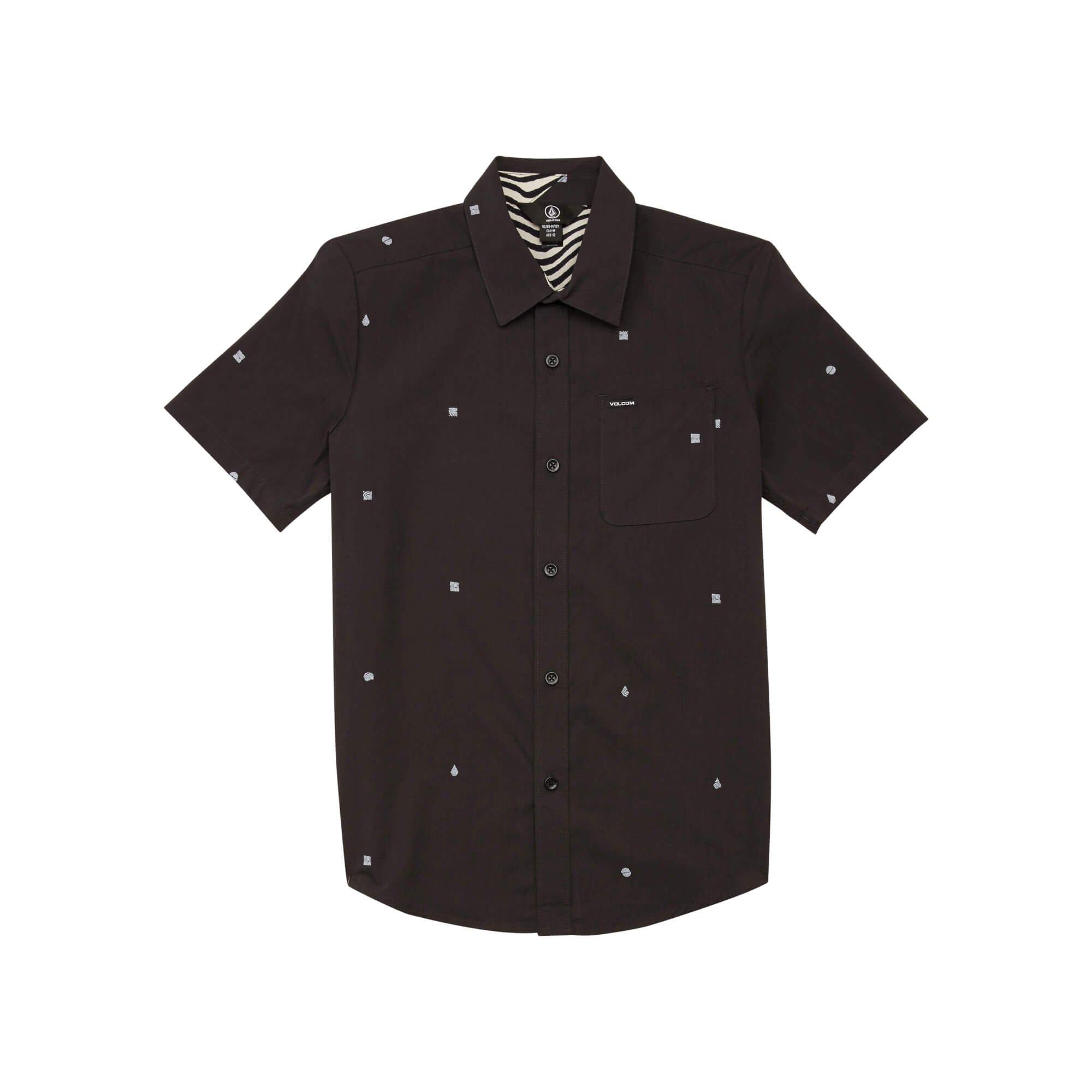 Volcom Boys' Big DRAGSTONE Button UP Woven Short Sleeve Shirt, Asphalt Black, Medium