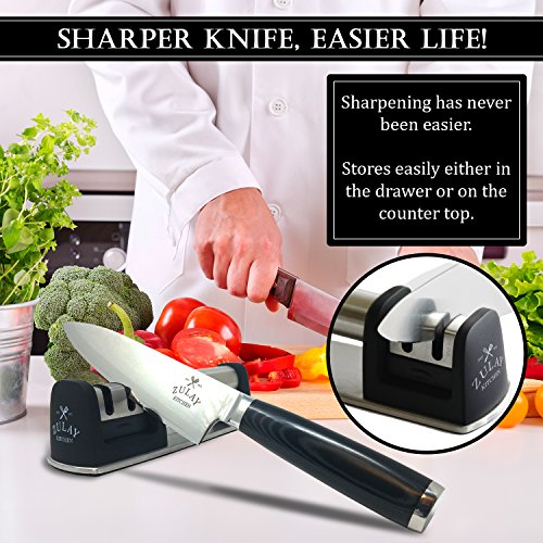 Best Manual Stainless Steel Knife Sharpener for Straight and Serrated Knives, Ceramic and Tungsten - Easy Sharpening for Dull Steel, Paring, Chefs and Pocket Knives, Sharpens Scissors by Zulay Kitchen by Zulay Kitchen (Image #2)