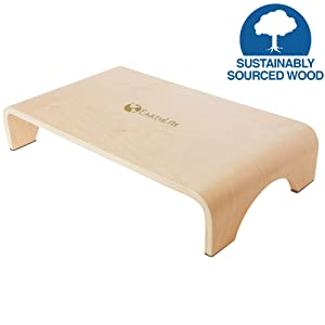 "EARTHLITE Wooden Step Stool - Beautiful Finish, Large Surface, Strong & Stable Bed Step, Foot Stool, Massage Step-Up (4"" or 7"")"