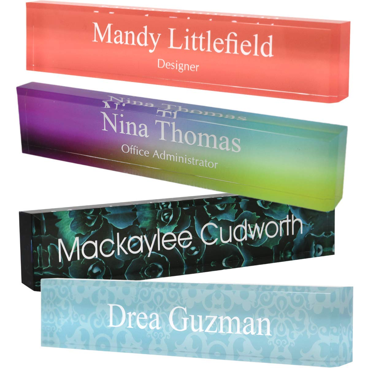Personalized Acrylic Block Name Plate with Printed Background 2'' x 8'' by Naag Tag Inc.