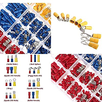 600PCS 12-Size Assorted Insulated Electrical Wire Assortment Terminals Kit Crimp Wiring Connectors Fork Ring Butt Spade Case Set