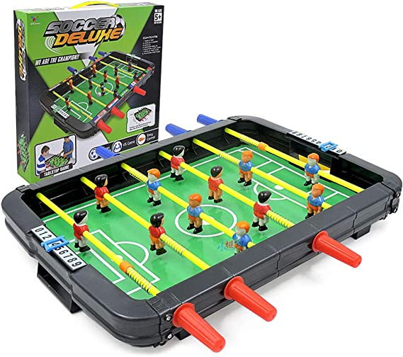 Calistouk Juguete de futbolín 6 Disparos máquina de fútbol de Mesa pequeño,Juego multijugador para niños Fiesta Familiar Juegos de Mesa de Rompecabezas: Amazon.es: Juguetes y juegos