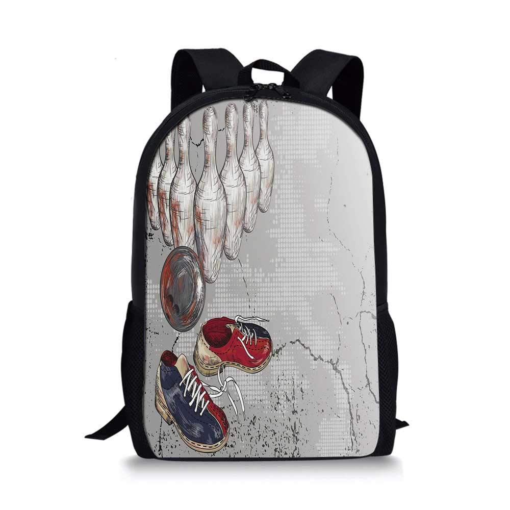 Bowling Party Decorations Stylish School Bag,Bowling Shoes Pins and Ball Artistic Grunge Style Decorative for Boys,11''L x 5''W x 17''H by C COABALLA