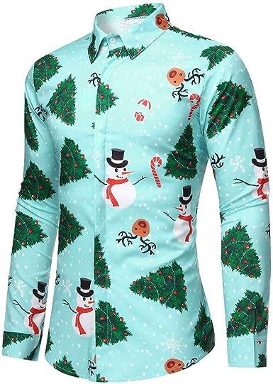 HoSayLike Camisas De Hombre Navidad OtoñO E Invierno Casual Moda Manga Larga ImpresióN Copo De Nieve Solapa De Un Solo Pecho Todos Los Dias Blusa Top Informal: Amazon.es: Ropa y accesorios