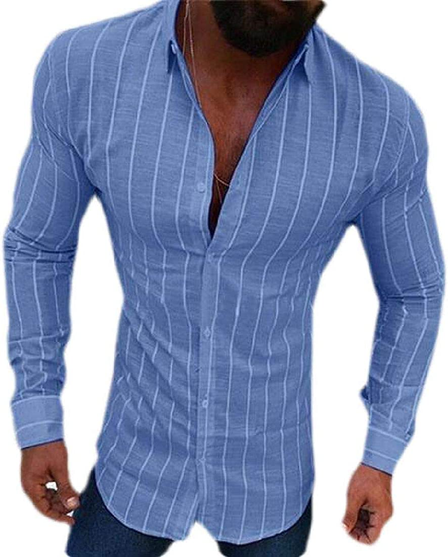 Spirio Men Button Front Slim Casual Stripe Long Sleeve Shirts