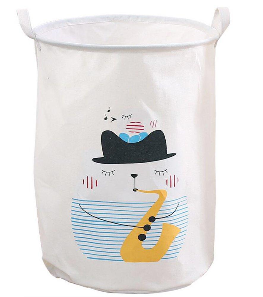 PUTING Foldable Laundry Hamper Waterproof Convergent Canvas Fabric Storage Bin Storage Basket Organizer for Bathroom Storage & Closet Home Organization, Cartoon Animal 19.7'' (H) x 15.7'' (Dia.)