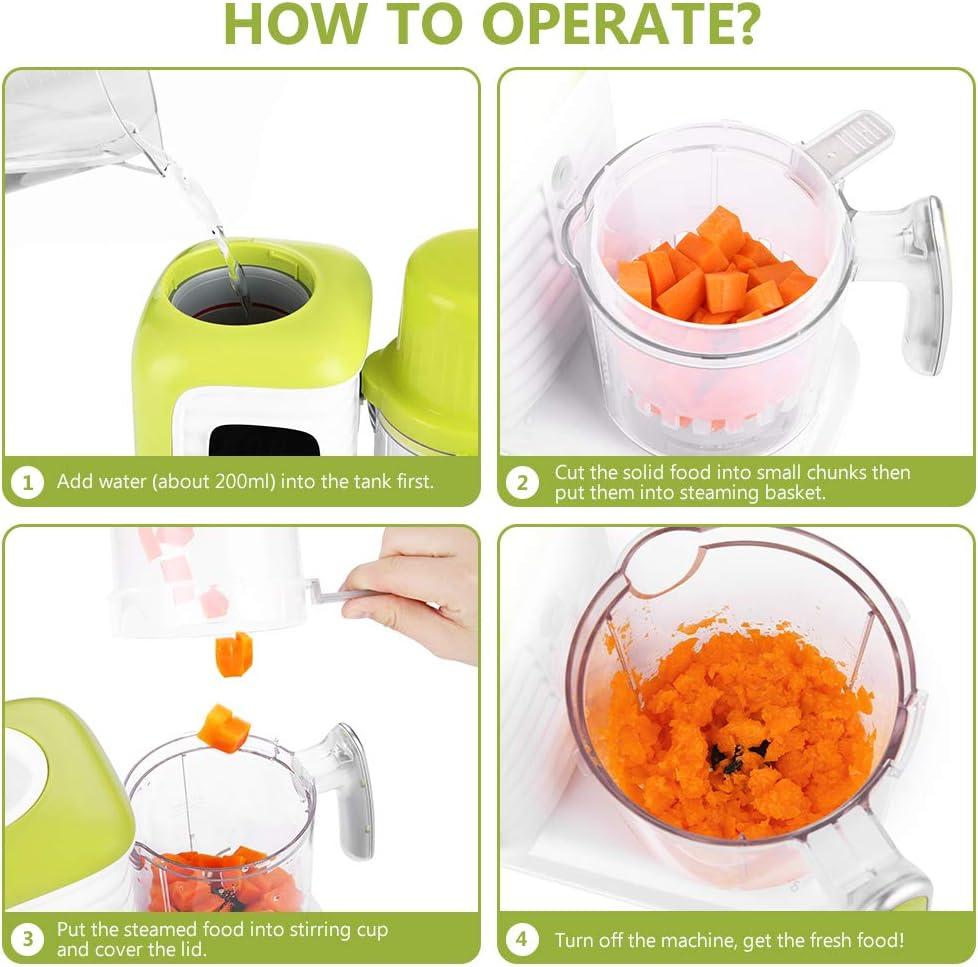 Bajo Consumo de Energ/ía para Vaporizar Zanmini Procesador de Alimentos para Beb/és y Ancianos 6 en 1 Robot de Cocina para Beb/é Libro de recetas incluido Procesador Multifuncional Batir y Calentar