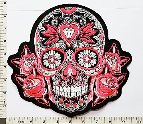 Big Jumbo Large Sugar Pink Rose Diamond Skull Lady Rider Biker Back Jacket T Shirt Patch Sew Iron on Embroidered Badge Sign