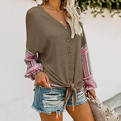 395f1492dd URIBAKE Womens V Neck Tie Knot Front Henley Shirt Button up Patchwork  Cardigan Blouse at Amazon Women s Clothing store