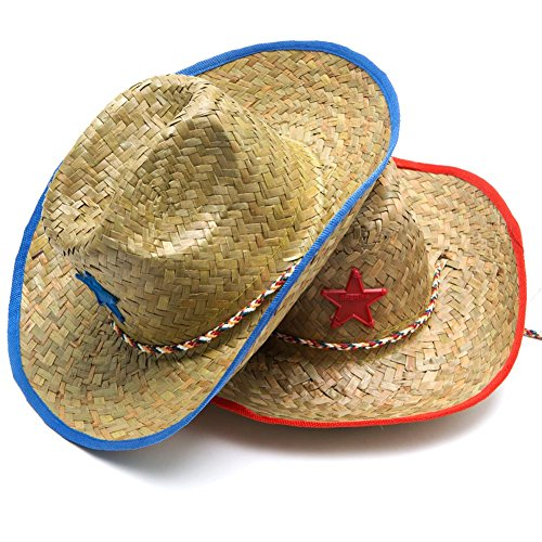 [Star Cowboy Hat - Accent Color either Red or Blue] (Child Red Cowboy Hat)