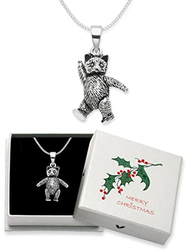 Christmas gift boxed sterling silver teddy bear pendant necklace christmas gift boxed sterling silver teddy bear pendant necklace on silver chain jointed teddy bear with movable arms and legs 35gms size 20mm x aloadofball Images