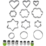 JUSLIN Set of 20 Stainless Steel Molds, 12 Metal Cookies Cutters, 3 Star-shapes, 3 Flower-shapes, 3 Round, 3 Heart-shapes (different sizes), & 8 Metal Vegetable Fruit Cutters for Food Decorations