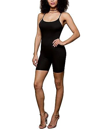a9a3c7559aa Amiliashp Women s Spaghetti Strap Tank Top Short Jumpsuit Rompers Bodysuit  One Piece Catsuit Black