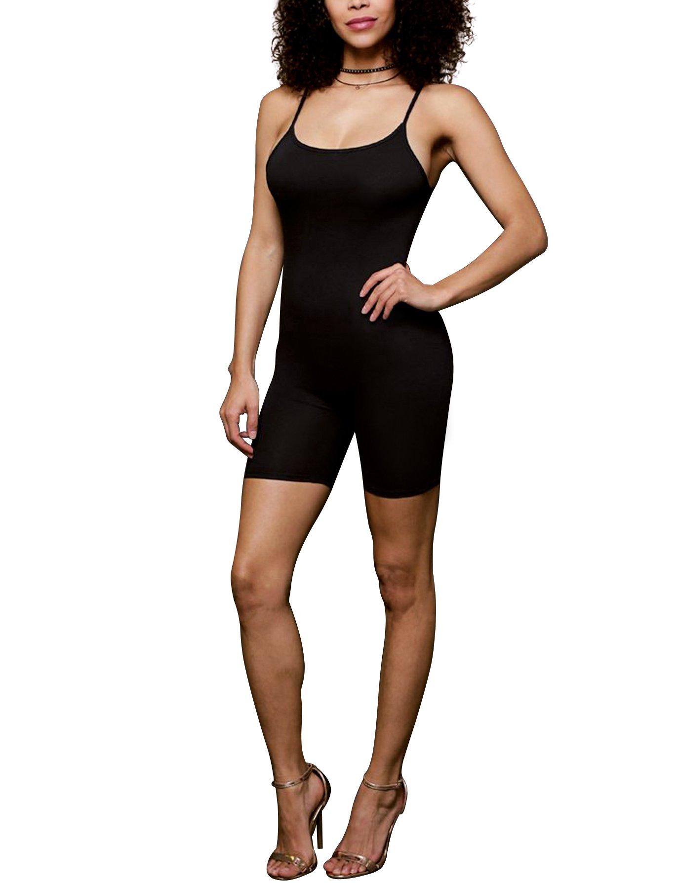 Amiliashp Women's Spaghetti Strap Tank Top Short Jumpsuit Rompers Bodysuit One Piece Catsuit