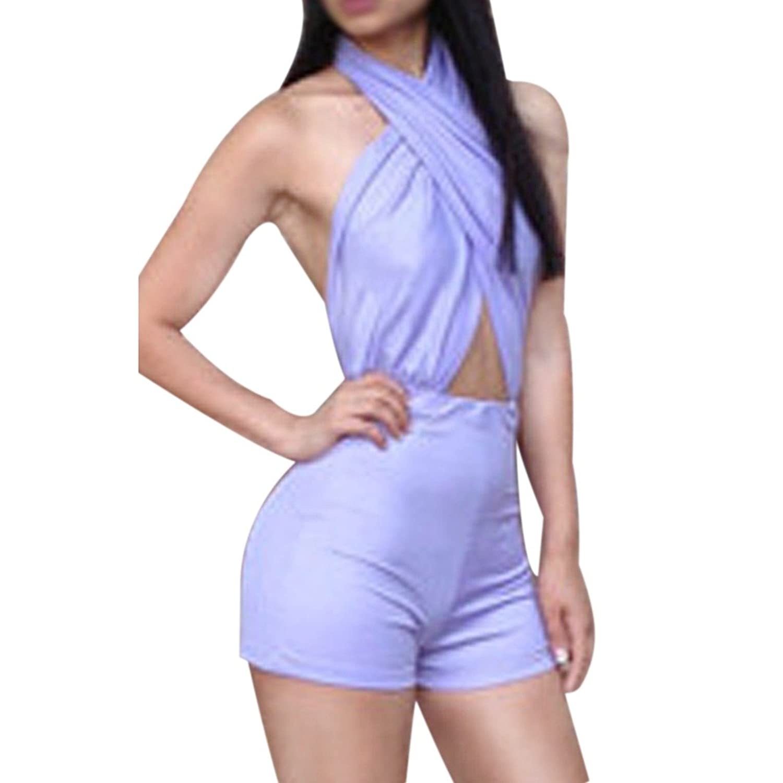 Light Purple Fancy Trendy Women Halter Backless Sexy Cross Front Party Jumpsuits