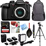 Panasonic LUMIX GH5S 10.2MP C4K Mirrorless ILC Camera Bundle w/ 128GB SDXC Memory Card, Backpack, Tripod, LED Light, Corel Paint Shop, Blower, Cleaning Pen, Batteries + Charger, and Microfiber Cloth