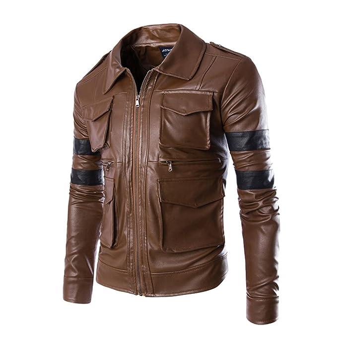 Chaqueta De Imitación Hombre Cuero Chaquetas Abrigo Moto Punk X5qv05
