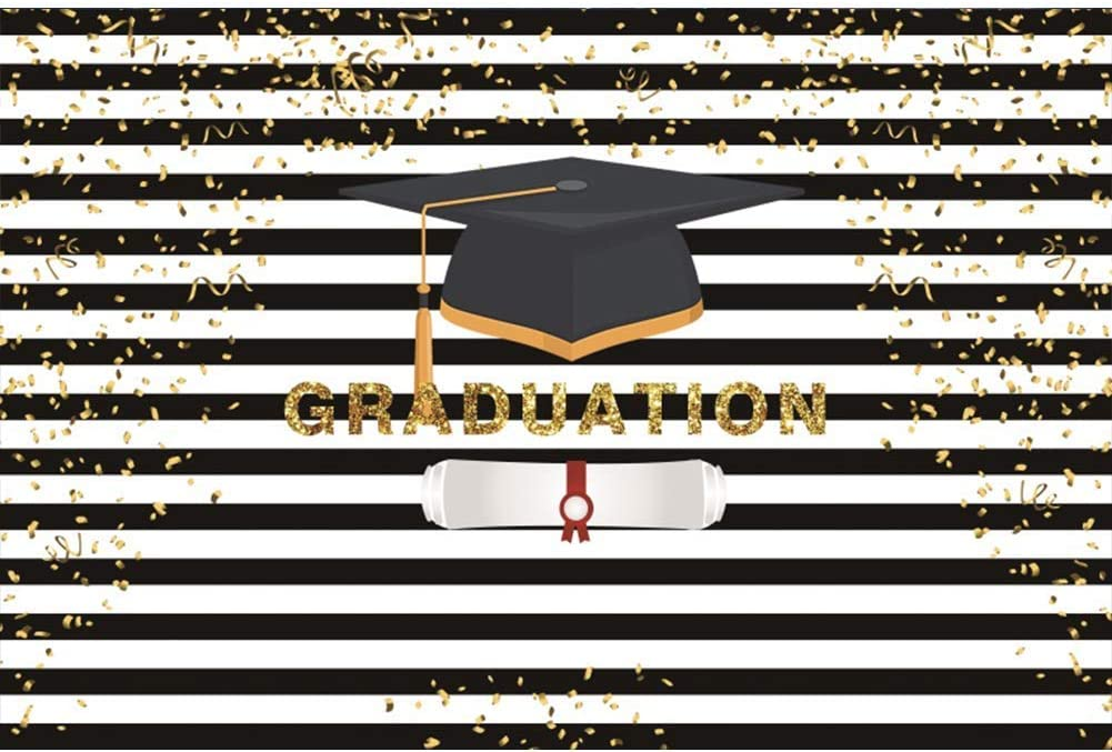 9x6FT Vinyl Graduation Backdrop for Photos Graduation Cap Golden Confetti Black White Stripes Background Banner Graduation Prom Party Decoration Photo Booth Props Photography Backdrops