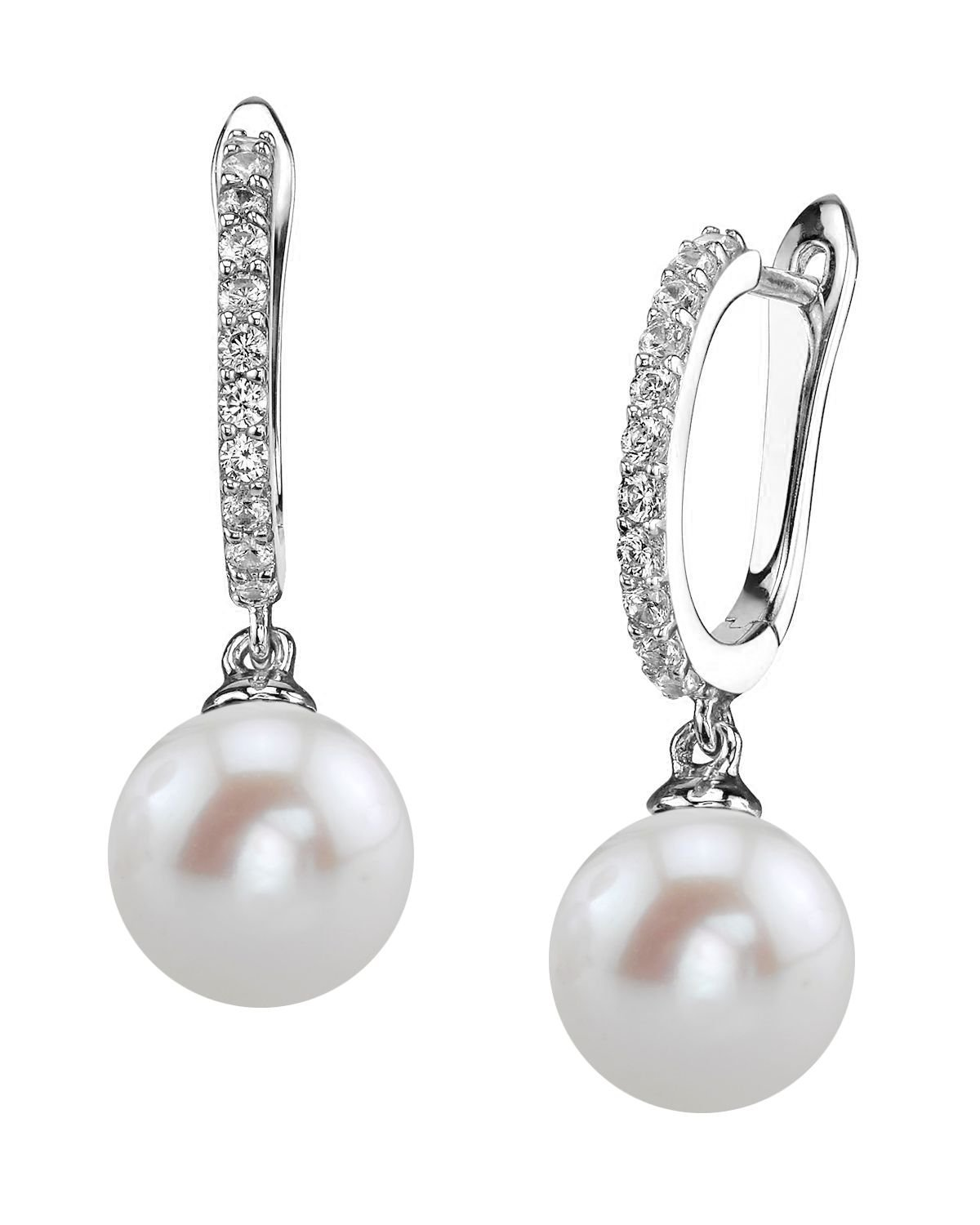 THE PEARL SOURCE 8-9mm Genuine White Freshwater Cultured Pearl Zara Earrings for Women