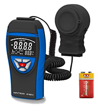 Digital Light Meters AP-8801C Light Meter for Plants Measure Light from 0.1~400,000 Lux with Extendable Light Detector up to 2m, Data Hold, Lux/FC Selection for Par Photography Plants