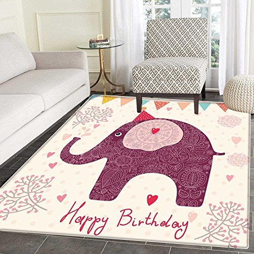 Kids Birthday Area Rug Carpet Asian Paisley Motif Image with