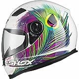Shox Sniper Peacock Damen Motorrad Roller Rennsport Integralhelm M Weiß/Rosa/Neon Gelb thumbnail